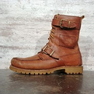 SZ 10 MENS POLO DISTRESSED LEATHER BOOTS